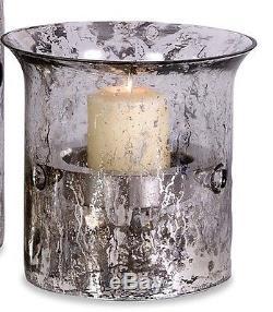 Glass Candle Holders 3 Piece Set Hurricanes Iron Stands Votives Tea Lights Decor