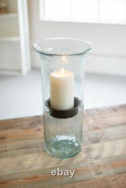 Glass Hurricane Candle Holder Cylinders Metal Inserts Candleholders Set Of 3