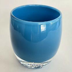 Glassybaby Calm Sea Blue Votive Candle Holder 3.5 Label