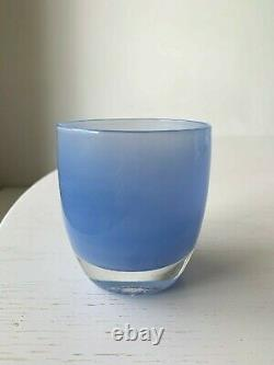 Glassybaby Candle Holder Blue DOG PADDLE Retired New with Sticker Glass Baby HTF