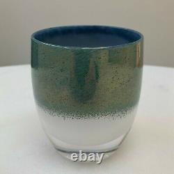 Glassybaby HOME Glass Votive Candle Holder with Tag, Glimmer Metallic