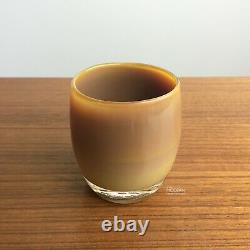 Glassybaby Mocha Brown Glass Votive Candle Holder Hand Blown Creme Brulee