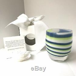 Glassybaby candle holder GRIT Green Blue NEW Retired 2016 Seattle Seahawks