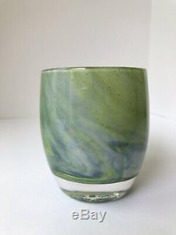Glassybaby candle holder HAWK'S NEST Green Blue NEW Retired Seattle Seahawks