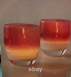 Glassybabyglasscandleholdervotiveyourlovepink&whitecolornewwithbox