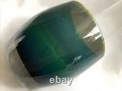 Glassybabykindfullblue&greendoubleoverlayglassvotivecandleholder