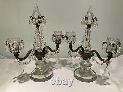 Good Quality Pair Of Antique Glass & Bronze Table Lamps, Candle Holders