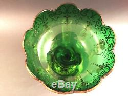 Gorgeous Antq Bohemian Glass Ornate Luster Lustre Candle Holder Spear Prisms