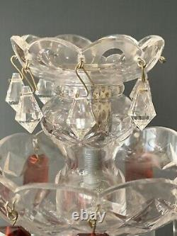 Gorgeous Antq Ornate Bohemian Crystal Glass Luster Candlestick Spear Prisms