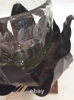 Gorgeous Artisan Quality Jan Barboglio Iron & Blown Glass Flower Basket Votive