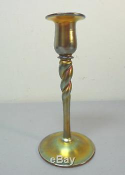 Gorgeous Steuben Carder Era Gold Aurene Art Glass 8 Candlestick #686 Signed