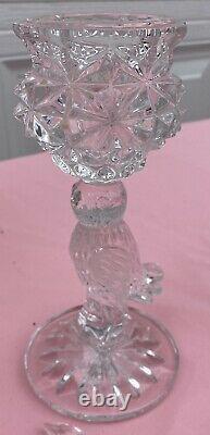 HOFBAUER Crystal Byrdes/Birds Candlesticks WithPrisms Basket & Vase EC NICE LOT