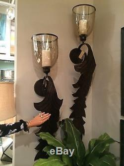 Huge 52 Bronze Metal Leaf & Light Amber Glass Wall Sconce Candle Holder Tuscan