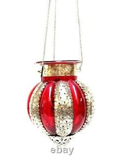 Hanging Lamp Glass Moroccan Lantern Candle Holder Red Hand Made Zenda Imports