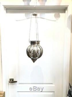 Hanging Lantern Mercury Glass Moroccan Style Candle Holder Lamp By Zenda Imports