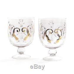 Hip Vintage Clear Glass 2-piece Etched Hurricane Candle Holder Set with Gold Acc