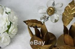Hollywood regency French maison bagues Glass centerpiece candle holders 1960