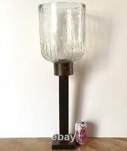 Huge Jan Barboglio Iron & Glass Hurricane Lamp Candle Holder Leaf Design 29.5