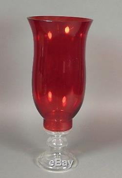 Huge Vintage 19.75 Red Glass Hurricane Lamp Candle Holder Footed