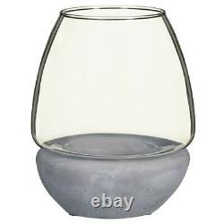 Hurricane Jar With Cement Base Glamorous Decorative Ornament Candle Holder