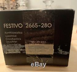 Iittala of Finland Festivo 7 Ring Glass Candlesticks Set of 2 Timo Sarpaneva