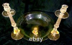 Italian Italy Venetian Art Glass Console Set Bowl Candle Stands Applied Fruit
