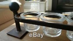 Jan Barboglio Solid Iron & Blown Glass 12 Votive Candle Holder