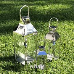 Jumbo Stainless Steel Hurricane Candle Holder Lantern Set Wedding Silver 510S