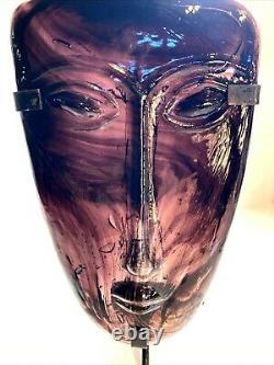 Kosta Boda Purple Art Glass Face Sweden Metal Stand Candle Holder