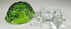 L E Smith Glass Green & Clear Turtle Light FLAME Fairy Candle Lamp Light RARE