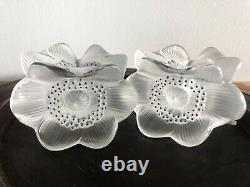 Lalique Anemone Candle Holder Pair Signed W France Sticker Excellent Condition