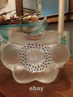 Lalique Candle Holder Anemone Three Flower Candle Holder Candlestick Signed