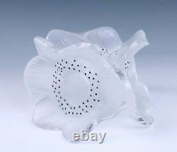 Lalique Three Anemones Candle Holder French Glass Crystal Candlestick 3 Flowers