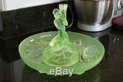 Large ART DECO Table Centre / Bowl & Candle Holder in URANIUM GLASS