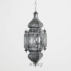 Large Antique Moroccan Style Hanging Lantern Pillar Candle Holder Hand Crafted
