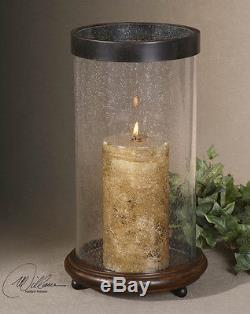 Large Bubbled Glass Hurricane HIckory Wood Candle Holder Bronze Metal Rim New