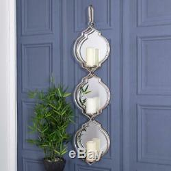 Large Mirrored Silver Candle Holder Wall Sconce Metal Glass Hanger Home Living