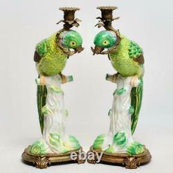 Large Pair (2) Castilian Ceramic & Bronze Mounted Parrot Candlesticks, 16.5h