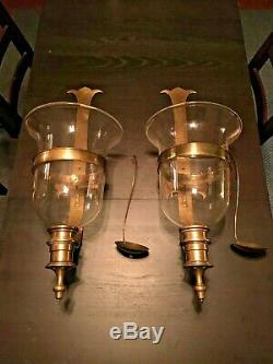 Large Vintage Brass and Glass Chapman Hurricane Sconce set Candle Holders 1970s