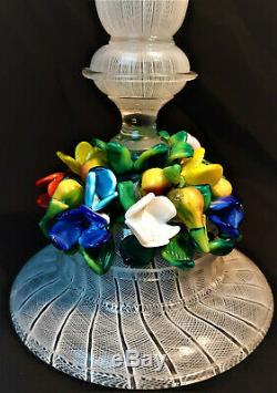 Latticino Art Glass Candlestick Floral 1950s Italy Italian Art Glass MCM Vintage