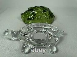 Le Smith Glass Turtle Fairy Light Lamp, Green & Clear, Two Piece, No Damage