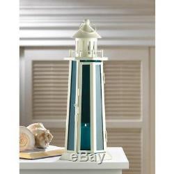 Lot 10 Wedding 13.2 Lighthouse Lantern Blue White Candle Holder Centerpieces