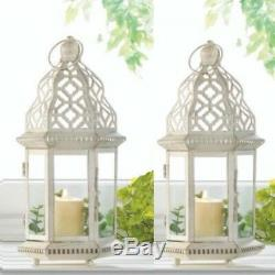 Lot 6 Sublime 12 White Distressed Lantern Candle Holder Wedding Centerpieces