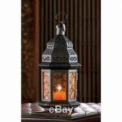 Lot of 10 Amber Glass Moroccan Style Lantern Candle Holder Wedding Centerpieces