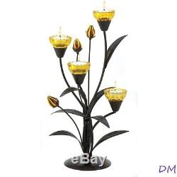 Lot of 20 Yellow Tiger Lily Tealight Candelabra Candle Holders Centerpieces