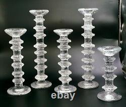 Lot of5 Vintage Iittala Timo Sarpaneva Festivo Scandinavian Design Candlesticks