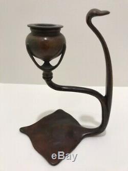 Louis Comfort Tiffany Studios Bronze Antique Candlestick Cobra Shaped