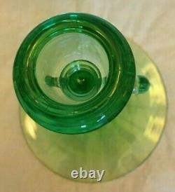 Lovely Rare Heisey Swan Green Moongleam Double Handled Candle Holder 61/2 T
