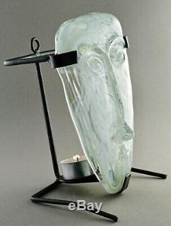 MCM Erik Hoglund 1960's Face Sculpture with Stand Kosta Boda Sweden
