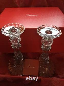 MIB FLAWLESS Stunning BACCARAT Glass BAMBOUS Crystal 2 CANDLESTICK CANDLE HOLDER